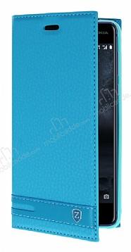 Nokia 5 Gizli Mıknatıslı Yan Kapaklı Mavi Deri Kılıf