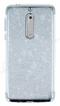 Nokia 5 Simli Silver Silikon Kılıf