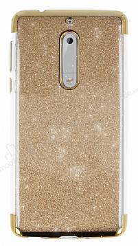 Nokia 5 Simli Gold Silikon Kılıf