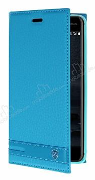 Nokia 6 Gizli Mıknatıslı Yan Kapaklı Mavi Deri Kılıf