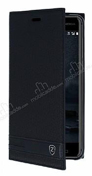 Nokia 6 Gizli Mıknatıslı Yan Kapaklı Siyah Deri Kılıf