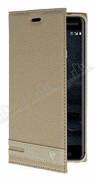Nokia 6 Gizli Mıknatıslı Yan Kapaklı Gold Deri Kılıf