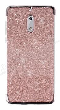 Nokia 6 Simli Rose Gold Silikon Kılıf