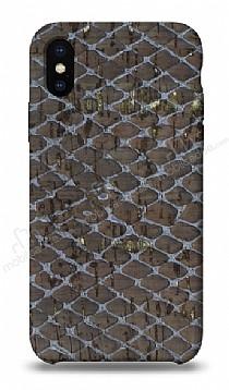 NY Cork iPhone X Altın Yaldızlı Gerçek Mantar Kaplama Premium Kılıf