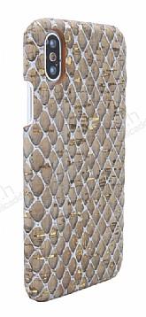 NY Cork iPhone X / XS Altın Yaldızlı Gerçek Mantar Kaplama Premium Kılıf