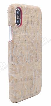 NY Cork iPhone X Gül Desenli Gerçek Mantar Kaplama Premium Kılıf