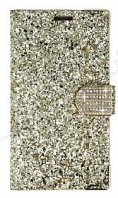 PinShang Samsung Galaxy C7 SM-C7000 Taşlı Kapaklı Cüzdan Gold Kılıf