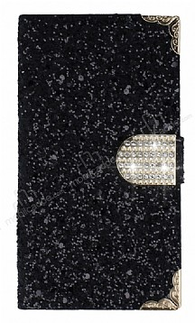 PinShang Samsung Galaxy C9 Pro Taşlı Kapaklı Cüzdan Siyah Kılıf