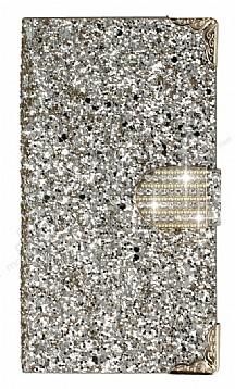 PinShang Samsung Galaxy C9 Pro Taşlı Kapaklı Cüzdan Gold Kılıf