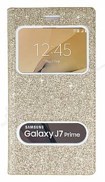 Pinshang Samsung Galaxy J7 Prime Pencereli Simli Gold Kılıf