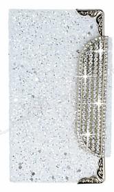 PinShang Sony Xperia Z3 Plus Taşlı Kapaklı Cüzdan Beyaz Kılıf