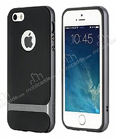 Rock Royce iPhone SE / 5 / 5S Dark Silver Metalik Kenarlı Silikon Kılıf