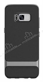 Rock Royce Samsung Galaxy S8 Dark Silver Metalik Kenarlı Siyah Silikon Kılıf