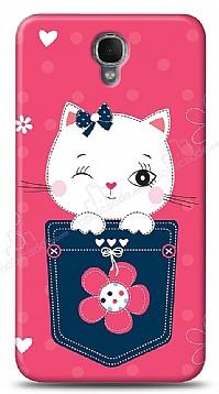 Alcatel One Touch idol 2 Pink Cat Kılıf