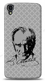 Alcatel OneTouch idol 3 4.7 Atatürk Silüet İmza Gri Kılıf
