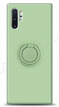 Eiroo Ring Color Samsung Galaxy Note 10 Plus Yüzük Tutuculu Yeşil Silikon Kılıf