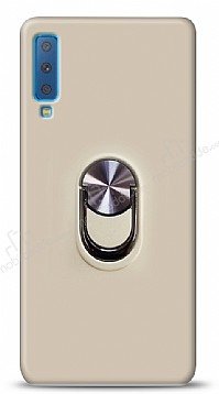 Eiroo Ring Fold Samsung Galaxy A7 2018 Standlı Ultra Koruma Gold Kılıf