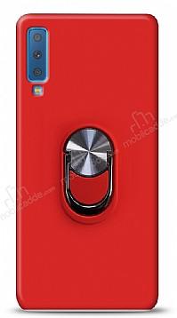 Eiroo Ring Fold Samsung Galaxy A7 2018 Standlı Ultra Koruma Kırmızı Kılıf