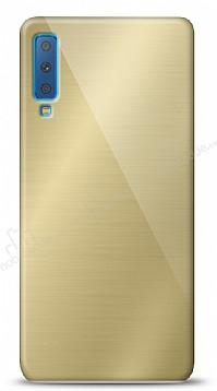Eiroo Samsung Galaxy A7 2018 Silikon Kenarlı Aynalı Gold Kılıf