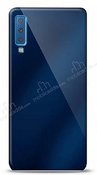 Eiroo Samsung Galaxy A7 2018 Silikon Kenarlı Aynalı Lacivert Kılıf