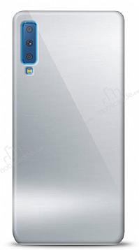 Eiroo Samsung Galaxy A7 2018 Silikon Kenarlı Aynalı Silver Kılıf