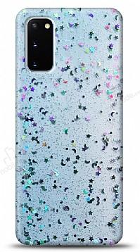 Eiroo Sparkle Samsung Galaxy S20 Işıltılı Mavi Silikon Kılıf