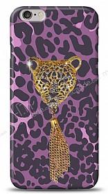 iPhone 6 Purple Leopard Taşlı Kılıf