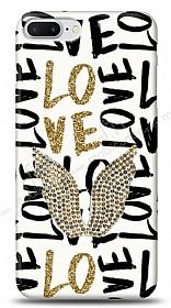 iPhone 7 Plus / 8 Plus Gold Angel Taşlı Kılıf