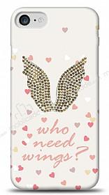 iPhone 7 / 8 Who Needs Wings Taşlı Kılıf