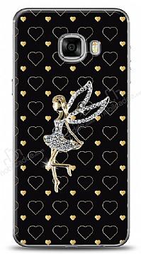 Samsung Galaxy C5 Lovely Girl Taşlı Kılıf