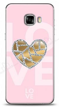 Samsung Galaxy C5 Pink Mirror Taşlı Kılıf