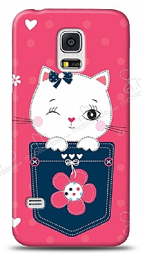 Samsung Galaxy S5 mini Pink Cat Kılıf