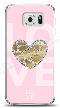 Samsung Galaxy S6 Pink Mirror Taşlı Kılıf
