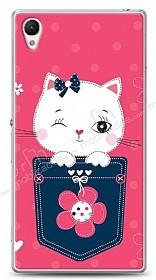 Sony Xperia Z1 Pink Cat Kılıf