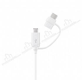 Samsung EP-DG930DWEGWW Orjinal USB Type C ve Micro USB Data Kablosu 1m