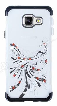 Samsung Galaxy A3 2016 Siyah Peacock Taşlı Şeffaf Silikon Kılıf