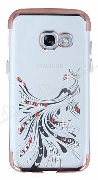 Samsung Galaxy A3 2017 Rose Gold Peacock Taşlı Şeffaf Silikon Kılıf