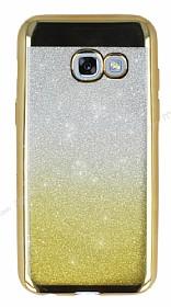 Samsung Galaxy A3 2017 Simli Parlak Gold Silikon Kılıf