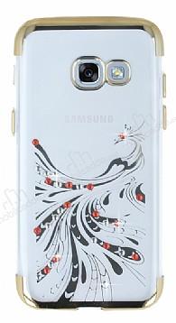 Samsung Galaxy A5 2017 Gold Peacock Taşlı Şeffaf Silikon Kılıf