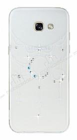 Samsung Galaxy A5 2017 Beyaz Ay Taşlı Şeffaf Silikon Kılıf