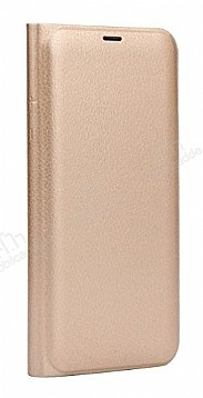 Samsung Galaxy A6 2018 İnce Yan Kapaklı Cüzdanlı Gold Kılıf