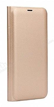 Samsung Galaxy A6 Plus 2018 İnce Yan Kapaklı Cüzdanlı Gold Kılıf