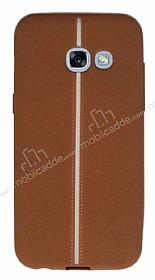 Samsung Galaxy A7 2017 Kadife Dokulu Kahverengi Silikon Kılıf
