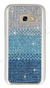 Samsung Galaxy A7 2017 Taşlı Geçişli Mavi Silikon Kılıf