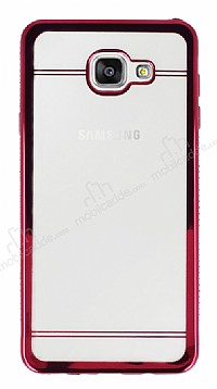 Samsung Galaxy A7 2017 Taşlı Pembe Silikon Kenarlı Şeffaf Rubber Kılıf