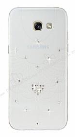 Samsung Galaxy A7 2017 Beyaz Kalp Taşlı Şeffaf Silikon Kılıf