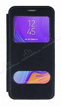 Samsung Galaxy A7 2018 Çift Pencereli Kapaklı Siyah Kılıf