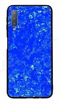 Samsung Galaxy A7 2018 Desenli Silikon Kenarlı Mavi Rubber Kılıf