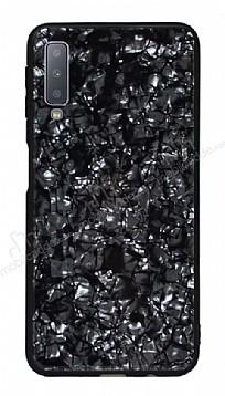 Samsung Galaxy A7 2018 Desenli Silikon Kenarlı Siyah Rubber Kılıf
