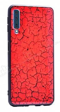 Samsung Galaxy A7 2018 Marble Kırmızı Silikon Kılıf